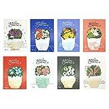 MinniLove ユニークな可愛い小花の付箋 メッセージカード,付箋, ふせん, メモ帳, 付せん,強粘着ノート 超徳用 (8種セット)