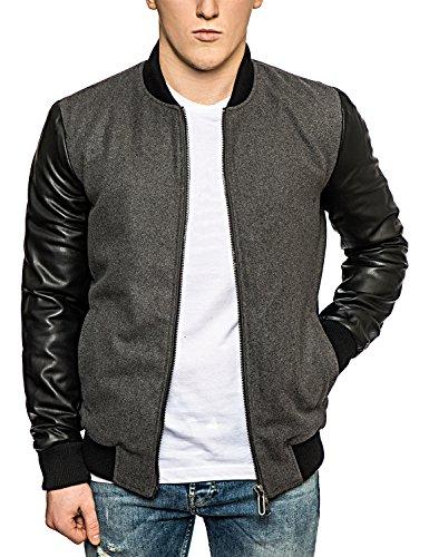 Solo & Sons Bomber giacca-Custodia in pelle-Varsity-Giacche da uomo Grey XX-Large