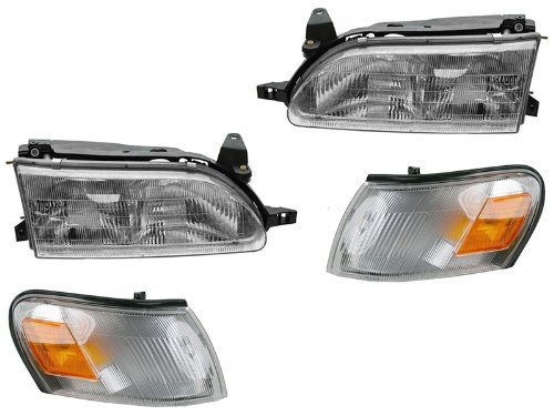 Toyota Corolla 93 94 95 96 97 Head And Corner Light W Bulb 4 Piece Combination (94 Toyota Headlights compare prices)