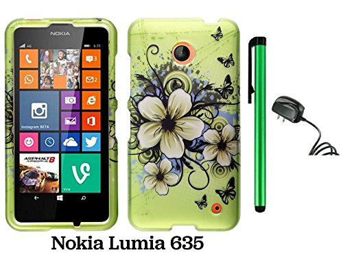 Nokia Lumia 635 (Us Carrier: T-Mobile, Metropcs, And At&T) Premium Pretty Design Protector Cover Case + Travel (Wall) Charger + 1 Of New Assorted Color Metal Stylus Touch Screen Pen (Apple Green Butterfly Flower)