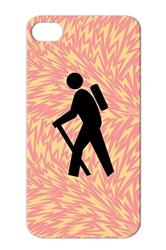 Hiker Silhouette Cool Stick Vector Walking Stencil People Sports Backpacker Hiking Cartoon Miscellaneous Humor Comic Design Outdoors Backpacking Funny Sign Black Scratch-Free Cover Case For Iphone 4/4S