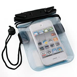 Waterproof Clear Pouch for Smartphone (Blue with Armband)