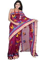 Exotic India Grape-Wine Chanderi Sari With Hand-woven - Multi-Coloured