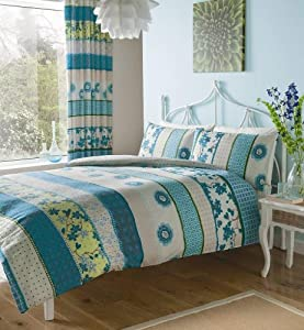Teal Lime Print King Size Duvet Set With Matching Curtains Kitchen Home