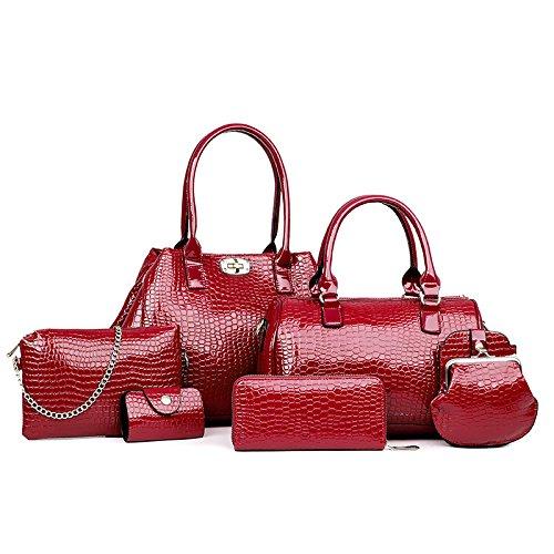 Da Wu Jia donna borsetta modello Coccodrillo 6 piece SET diagonal portatile singola borsa a tracolla , vino rosso