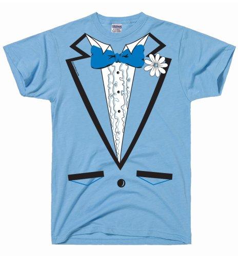 DirtyRagz Men's Powder Blue Vintage Tuxedo Tux T Shirt L Light Blue (Blue Tuxedo T Shirt compare prices)