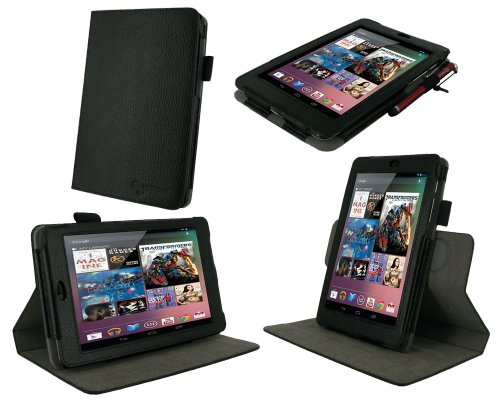rooCASE Dual-View Multi Angle (Black) 100% Genuine Leather Folio Case Cover for Google Nexus 7 Tablet (Automatically Wakes and Puts the Nexus 7 to Sleep)