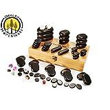 Hot Stone Massage Kit Large Basalt Stones Set With Bamboo Box 60 PC