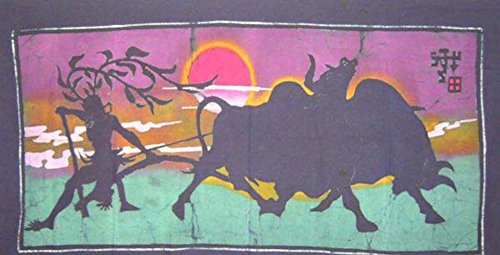 "Batik Folk Art Painting 34x60"" Miao Hmong Artist #129"
