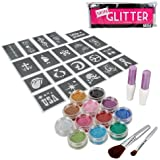BMC Party Fun Temporary Fashionable Multi-Color Glitter Shimmer Tattoo Body Art Design Kit with Stencils, Glue and Brushes