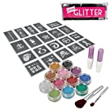 BMC 12pc Party Fun Temporary Fashionable Multi-Color Glitter Shimmer Tattoo Body Art Design Kit with Stencils, Glue and Brushes