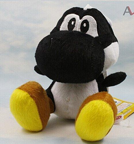 """super mario bros black yoshi 7"""" plush doll toy - 1"""