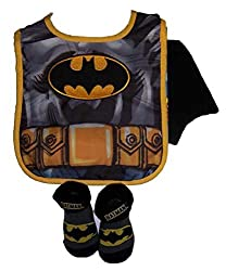 Dc Comics Batman Infant Bib with attached Cape and Bootie Set [5011]