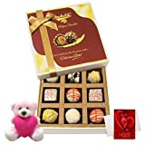 Valentine Chocholik Premium Gifts - Beautiful Design Of White Chocolates With Teddy And Love Card