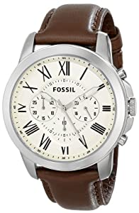 Fossil FS4735 Grant Brown Leather Watch: Fossil