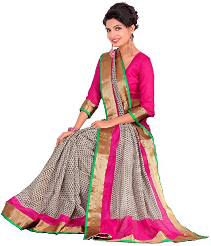 Samskruti Sarees Women's Cotton Silk Saree (SPAS-90_Grey & Pink)