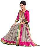 Samskruti Sarees Women's Cotton Silk Saree (SPAS-90_Grey & Pink)