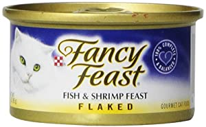 Fancy Feast Gourmet Cat Food, Flaked Fish & Shrimp Feast, Flaked 3-Ounce Cans (Pack of 24)