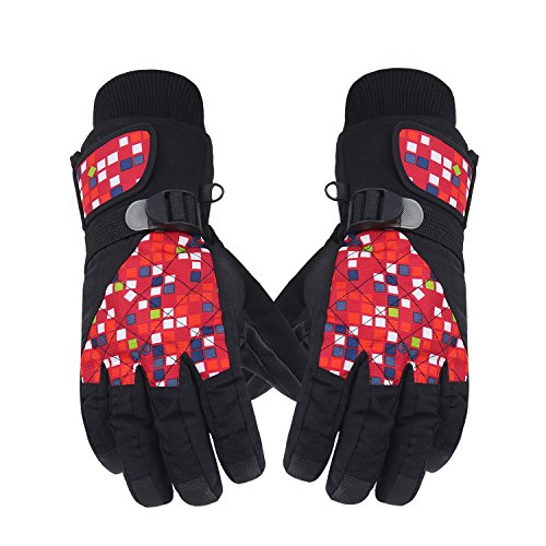 KINEED Waterproof Windproof Women Winter Ski Skiing Riding Snow Sports Wrist Velcro Gloves Red L