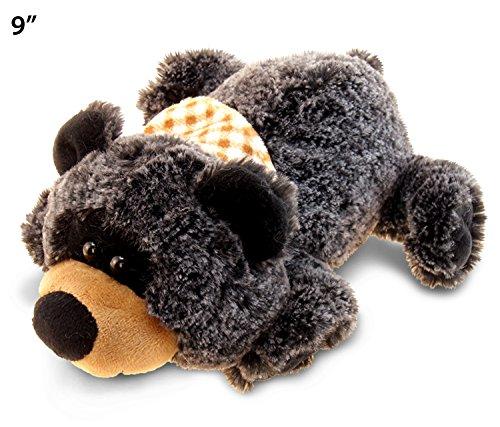 "Puzzled Super Soft Lying Black Bear Plush, 9"""