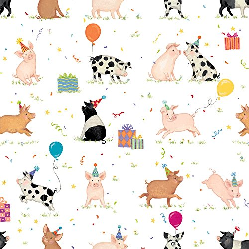 Caspari Pig Party Rolled Gift Wrap Paper - 2 Full Sheets