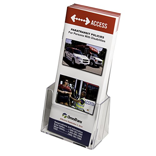 Clear-Ad - Clear Acrylic Brochure Holder - Slant Back trifold Brochure Holder Display Stand (Single Pack)