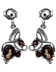 Exotic India Faceted Smoky Quartz Earrings With Garnet - Sterling Silver