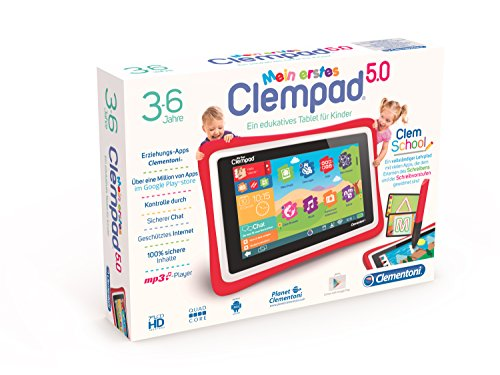 Clementoni 69483.9 Tablet Clempad per bambini, 3-6 anni, processore Quad Core, display da 5""