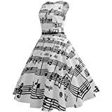 Women Lovely Swing Dress, Vintage Sashes Floral Bodycon Sleeveless Casual Evening Party Prom Dress (D-Music Love, 2XL)