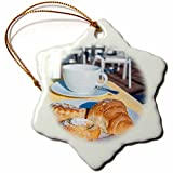 3dRose Danita Delimont - Café - Europe, Portugal, Regua, breakfast on riverboat sundeck - 3 inch Snowflake Porcelain Ornament (orn_227848_1)