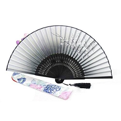 Topshop® Decorative Plum Flower Black Silk Folding Fan Collection