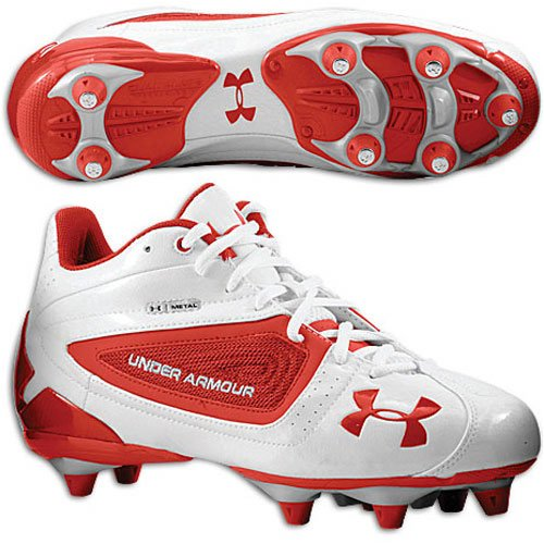 Under Armour Metal Speed II Mid D - Men's ( sz. 09.0, White/Red )