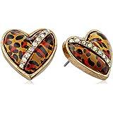 """Betsey Johnson """"Status"""" Leopard Heart Stud Earrings"""
