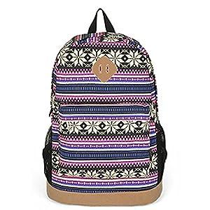 Unisex Tribal Boho Style Flower Print Canvas Backpack School College Laptop Bag for Teens Girls Boys Students, Rose