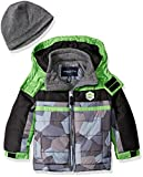 London Fog Toddler Boys Classic Heavyweight Color Block Bubble Jacket With Hat, Green, 4T