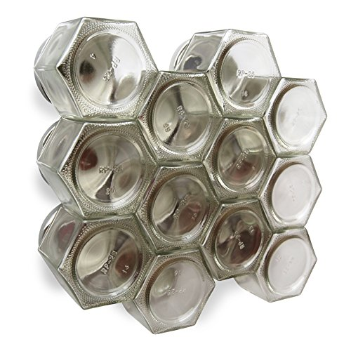Gneiss Spice DIY Magnetic Spice Rack: Includes Empty Large Hexagon Jars (4 oz), Magnetic Lids & Clear Labels (Set of 24, Silver Lids) (Over The Range Spice Rack compare prices)