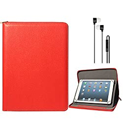 DMG Premium Stitched Durable Portfolio Bag with Accessory Pockets for Swipe Halo Value Plus Tablet (Red) + Black Stereo Earphone with Mic and Volume Control