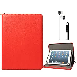 DMG Premium Stitched Durable Portfolio Bag with Accessory Pockets for Micromax Funbook Infinity P275 (Red) + Black Stereo Earphone with Mic and Volume Control
