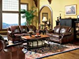 3pc Princeton Tri-Tone Burgundy Leather Sofa Loveseat &#038; Recliner Chair Set