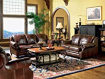 Hot Sale 3pc Princeton Tri-Tone Burgundy Leather Sofa Loveseat & Recliner Chair Set