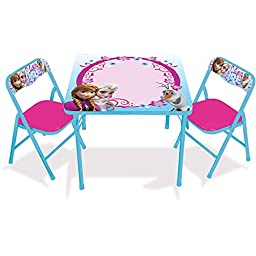 Disney Frozen Erasable Activity Table Set with 3 Markers, Features Colorful Graphics and a Large Table Surface for Drawing, Eating and Playing