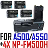 Battery Grip VG-B50AM for Sony Alpha DSLR-A500 & A550 w/ Four (4x) NP-FM500H Lithium-Ion Batteries