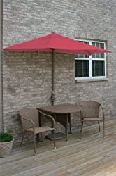 5 Piece Round Coffee Wicker and Red Sunbrella Patio Furniture Set 9'