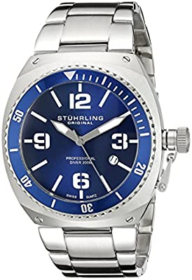 "Stuhrling Original Men's 410.33116 ""Aquadiver Marine"" Stainless Steel Dive Watch"