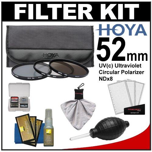 Hoya 52Mm 3-Piece Digital Filter Set (Hmc Uv Ultraviolet, Circular Polarizer & Nd8 Neutral Density) With Case + Nikon Cleaning Kit For Nikon 18-55Mm Vr Af-S, 24Mm F/2.8, 28Mm F/2.8, 35Mm F/1.8 G, 50Mm F/1.4 & F/1.8 D, 55-200Mm G Dx Vr, 85Mm F/3.5 Vr, 105M