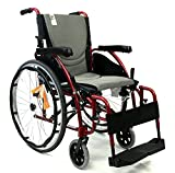 """New Karman S-Ergo 125 ( S-Ergo125F18RS ) Ergonomic Wheelchair with Flip-Back Armrest and Swing Away Footrest in Red, 18"""" Seat Width"""
