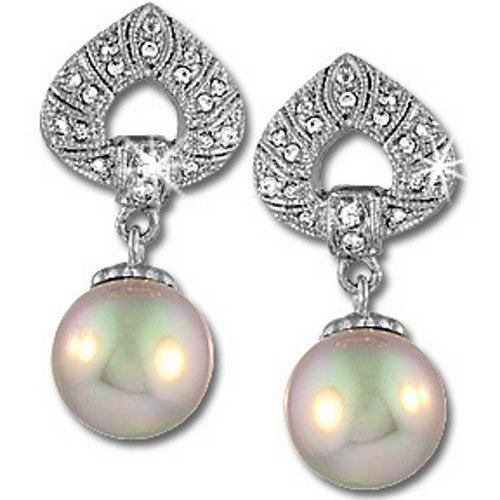 Silver Smoky Simulated Pearl Drop Earrings
