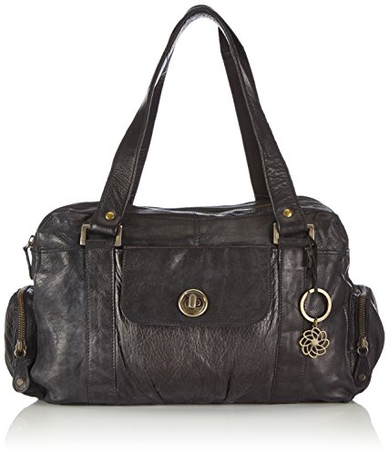 PIECES TOTALLY ROYAL 13 17055351, Borsa a spalla in pelle Donna, Nero (Schwarz (Black)), 32x20x12 cm (L x A x P)