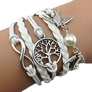 Armband Unendlichkeit Baum des Lebens, Taube und Perle Silber Weiß / Infinity / besser Lederband / anhänger / One Direction