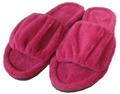Cheap ISOTONER Women's Cabanas Microterry Ruched Slide Slippers (Small / 6.5-7, Raspberry) (B004TXBMCE)
